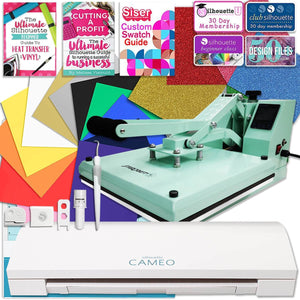 "Silhouette Cameo 3 Heat Press T-Shirt Bundle with Mint 15"" x 15"" Heat Press, Siser Vinyl - Swing Design"