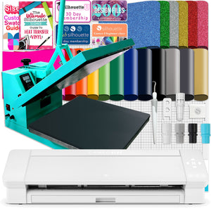 "Silhouette Cameo 4 PLUS - 15"" w/ 15"" x 15"" Turquoise Heat Press Bundle Silhouette Bundle Silhouette"