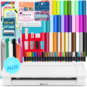 "Silhouette Cameo 4 PLUS - 15"" w/ 38 Sheets Oracal Vinyl, HTV, Pens, Guides Silhouette Bundle Silhouette"