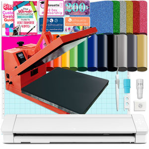 "Silhouette Cameo 4 PRO - 24"" w/ 15"" x 15"" Coral Heat Press & HTV Bundle Silhouette Bundle Silhouette"