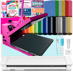 "Silhouette Cameo 4 PRO - 24"" w/ 15"" x 15"" Pink Heat Press & HTV Bundle Silhouette Bundle Silhouette"
