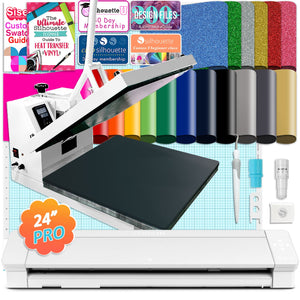 "Silhouette Cameo 4 PRO - 24"" w/ 15"" x 15"" White Heat Press & HTV Bundle Silhouette Bundle Silhouette"