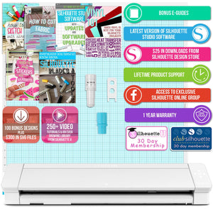 "Silhouette Cameo 4 PRO - 24"" w/ Advanced Blade Pack, 38 Sheets Vinyl, HTV, Pens Silhouette Bundle Silhouette"