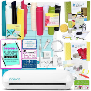 Silhouette Portrait 2 Cutting Machine Bundle with 4 Starter Kits and Starter Guide Silhouette Bundle Silhouette