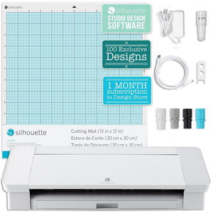 Silhouette White Cameo 4 Bundle w/ Oracal 651 Vinyl, Tools, Guides, and Pixscan - Swing Design