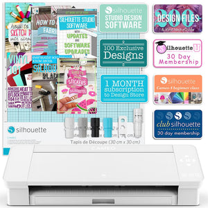 Silhouette White Cameo 4 Creative Bundle w/ 26 Oracal 651 Sheets, 12 Siser HTV Sheets - Swing Design