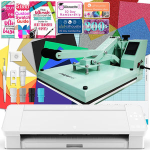 "Silhouette White Cameo 4 Heat Press T-Shirt Bundle w/ Mint 15"" x 15"" Heat Press, Siser Vinyl Silhouette Bundle Silhouette"