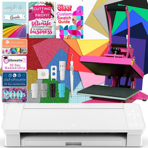 Silhouette White Cameo 4 Heat Press T-Shirt Bundle with Pink Heat Press, Siser HTV Silhouette Bundle Silhouette