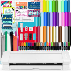 "Silhouette White Cameo 4 PLUS - 15"" w/ 38 Sheets Vinyl, HTV, Pens, Guides - Swing Design"