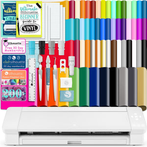 "Silhouette White Cameo 4 PLUS - 15"" w/ 64 Oracal Vinyl Sheets, Tools, Guides Silhouette Bundle Silhouette"