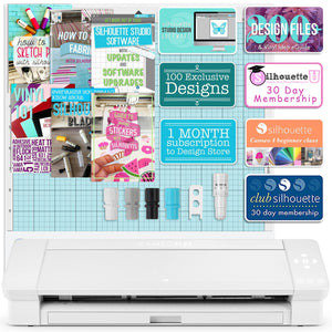 "Silhouette White Cameo 4 PLUS - 15"" w/ Blade Pack, 38 Sheets Vinyl, HTV, Pens - Swing Design"