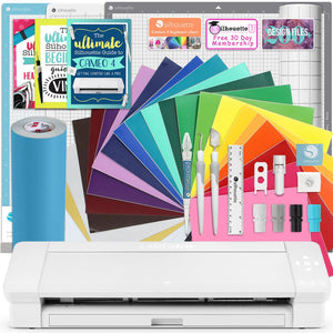 "Silhouette White Cameo 4 PLUS - 15"" w/ Oracal 651 Vinyl, Mat Pack, Tool Kit, Guides Silhouette Bundle Silhouette"
