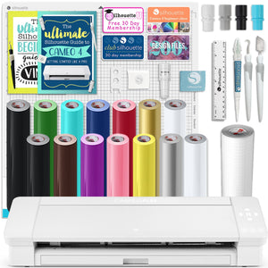 "Silhouette White Cameo 4 PLUS - 15"" w/ Oracal 651 Vinyl Rolls, Tool Set, Guides Silhouette Bundle Silhouette"