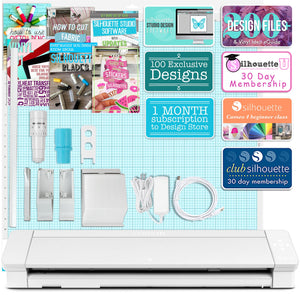 "Silhouette White Cameo 4 PRO - 24"" w/ Autoblade, Mat, Roll Feeder Silhouette Bundle Silhouette"