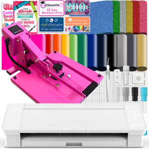 "Silhouette White Cameo 4 w/ 15"" x 15"" Pink Slide Out Heat Press Bundle Silhouette Bundle Silhouette"