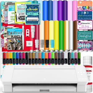 Silhouette White Cameo 4 w/ 26 Oracal Glossy Sheets, Guides, 24 Sketch Pens, and More Silhouette Bundle Silhouette