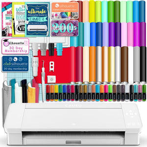 Silhouette White Cameo 4 w/ 38 Oracal Sheets, Siser HTV, Guides, 24 Pens - Swing Design
