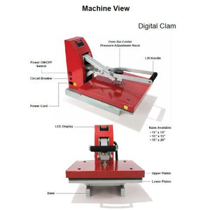 "Siser Digital Clam Heat Press 11"" x 15"" - Swing Design"
