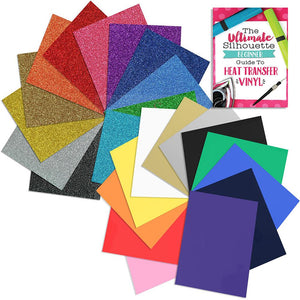 Siser Glitter and Siser Easyweed Heat Transfer Assorted Starter Bundle - Top 24 Colors - Swing Design