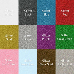 "Siser Glitter Heat Transfer Assorted Starter Bundle 12 Top Color Sheets - 12""x 10"" - Swing Design"