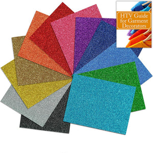 "Siser Glitter Heat Transfer Assorted Starter Bundle 12 Top Color Sheets - 12"" x 20"" - Swing Design"