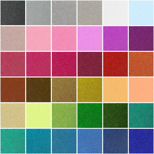"Siser Glitter Heat Transfer Vinyl (HTV) 20"" x 12"" Sheet - 45 Colors - Swing Design"