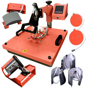 "Swing Design 15"" x 15"" Swing Away 8-in-1 Heat Press - Coral Heat Press Swing Design"