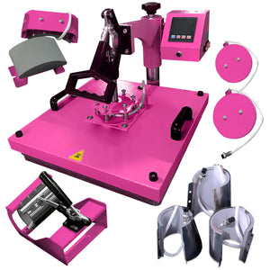 "Swing Design 15"" x 15"" Swing Away 8-in-1 Heat Press - Pink Heat Press Swing Design"