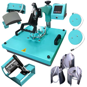 "Swing Design 15"" x 15"" Swing Away 8-in-1 Heat Press - Turquoise Heat Press Swing Design"