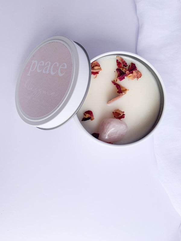 Bliss Me Candle - Peace - Rose Quartz, Rose & Ylang Ylang