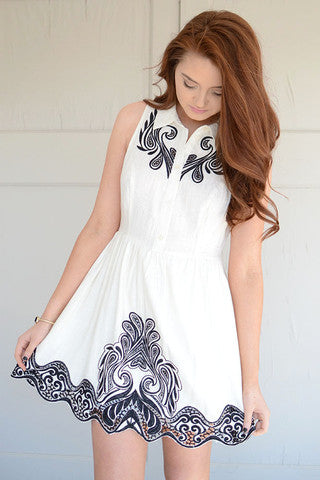 Black and White Embroidered Shirt Dress