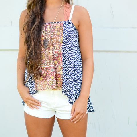 White Shorts and Printed Tank