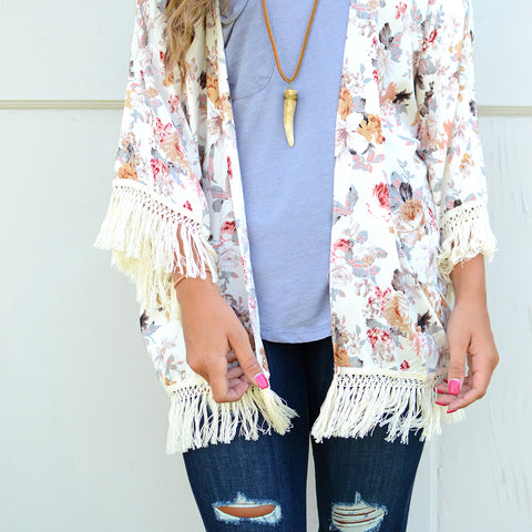 Distressed Jeans with Kimono and Pocket Tee