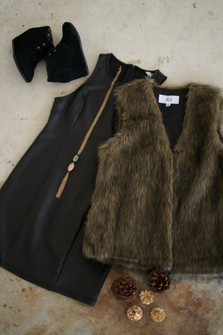 BB Dakota Leather Dress and Faux Fur Vest