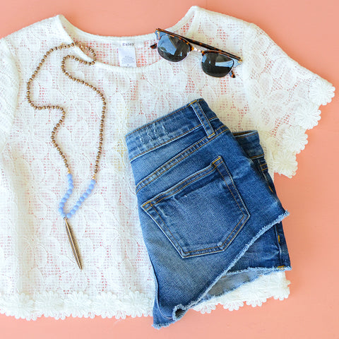 Just USA Cut Offs with Lace Top