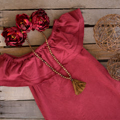 Brick Red Off the Shoulder Swing Dress