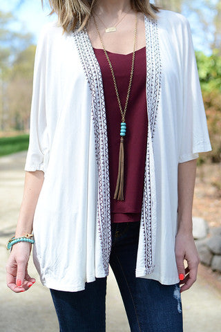 White and Garnet Embroidered Kimono