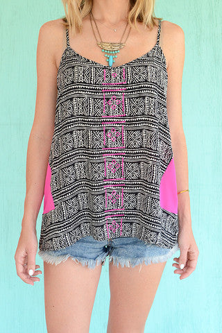 Hot Pink and Black Printed Tank