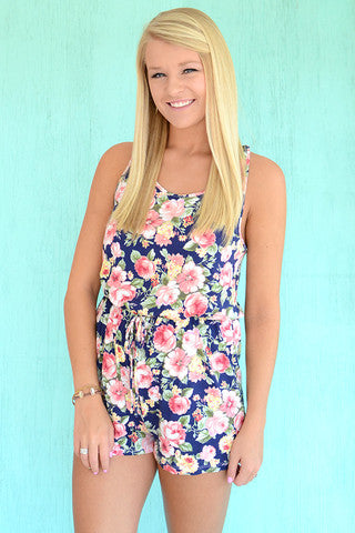 Navy Blue and Print Floral Print Romper