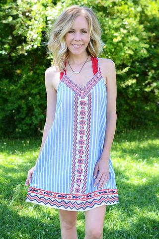 Red, White, and Blue Printed Striped Dress
