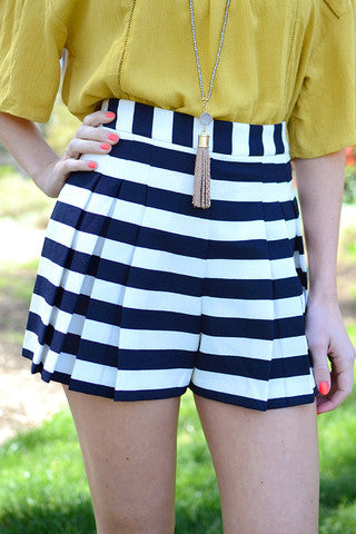 White and Navy Blue Striped Shorts