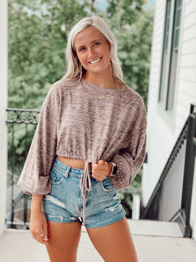 The Lean on Me Thermal Tie Top - Dusty Pink