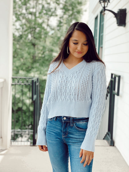 The Madame Sweater - Baby Blue/ Baby Pink