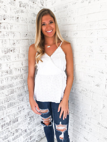 Girl Next Door Eyelet Tank Top - White