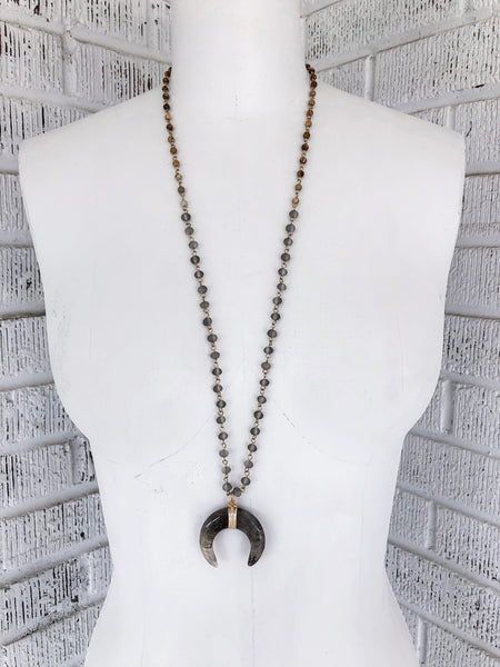 Ibiza Beaded Necklace - Grey