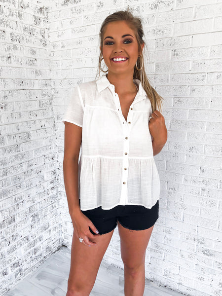 Wide Eyed White Tiered Top