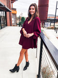 Worth The Wait Dress - Burgundy