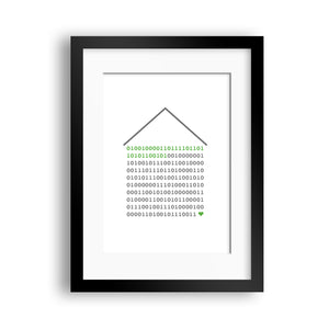 'Home is where the heart is' Binary Code Print