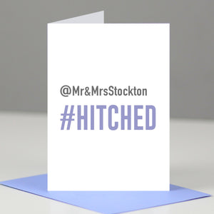 Hashtag 'Hitched' Wedding Day Card