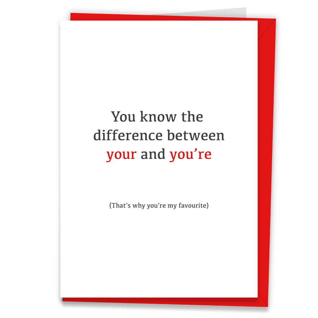 You're My Favourite Romantic Grammar Card